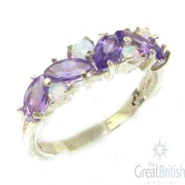 Sterling Silver Silver Natural Fiery Opal & Amethyst Eternity Ring