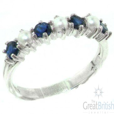 Sterling Silver Natural Sapphire & Pearl Ladies Eternity Ring