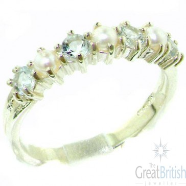 Sterling Silver Natural Aquamarine & Pearl Ladies Eternity Ring