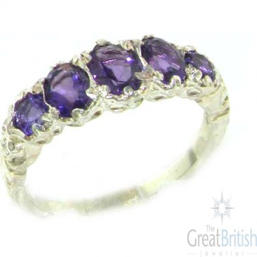 Sterling Silver Natural Amethyst English Victorian Ring