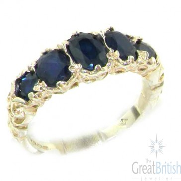 Sterling Silver Natural Sapphire English Victorian Ring