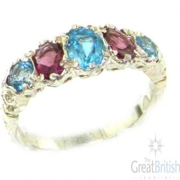 Sterling Silver Natural Pink Tourmaline & Blue Topaz English Victorian Ring