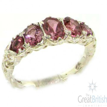 14K White Gold Natural Pink Tourmaline English Victorian Ring