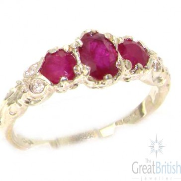 14K White Gold Natural Ruby English Victorian Trilogy Ring