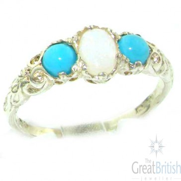 14K White Gold Natural Opal & Turquoise English Victorian Trilogy Ring