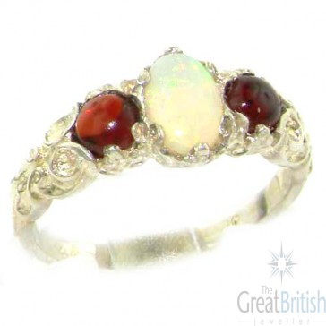 14K White Gold Natural Opal & Garnet English Victorian Trilogy Ring