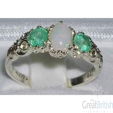 Sterling Silver Colourful Opal & Emerald Ring