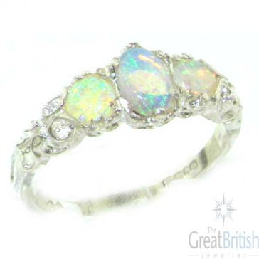 14K White Gold Natural Fiery Opal English Victorian Trilogy Ring