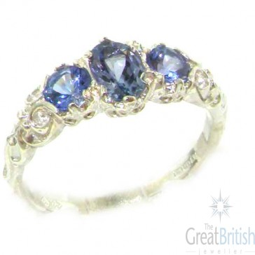 14K White Gold Natural Tanzanite English Victorian Trilogy Ring