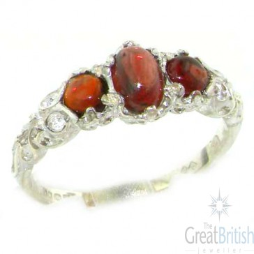 Sterling Silver Natural Cabochon Garnet English Victorian Trilogy Ring