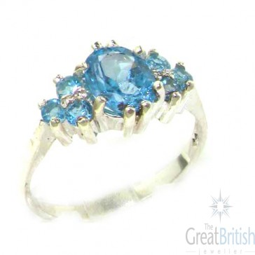 Sterling Silver Natural Blue Topaz Ring