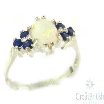 Sterling Silver Natural Opal & Sapphire Ring