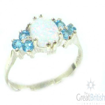 Sterling Silver Natural Opal & Blue Topaz Ring