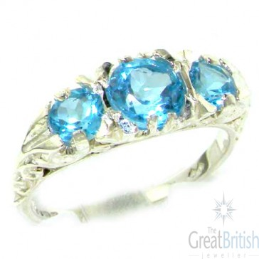 Sterling Silver Natural Blue Topaz Victorian Trilogy Ring