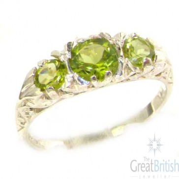Sterling Silver Natural Peridot Victorian Trilogy Ring