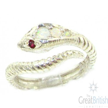Sterling Silver Natural Fiery Opal & Ruby Detailed Snake Ring
