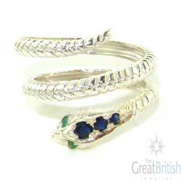 Sterling Silver Natural Sapphire & Emerald Detailed Snake Ring