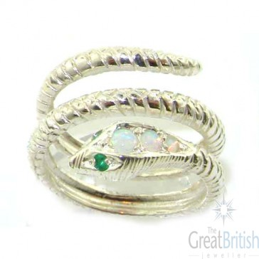 Sterling Silver Natural Fiery Opal & Emerald Detailed Snake Ring