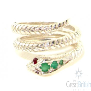 Sterling Silver Natural Emerald & Ruby Detailed Snake Ring