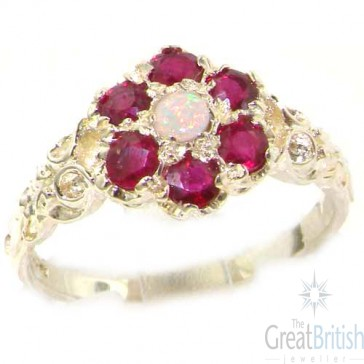 Sterling Silver Natural Fiery Opal & Ruby Daisy Ring