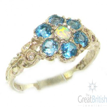 Sterling Silver Natural Fiery Opal & Blue Topaz Daisy Ring