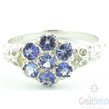 Sterling Silver Tanzanite Daisy Ring
