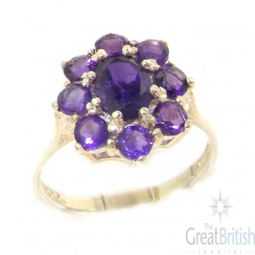 Sterling Silver Natural AAA Grade Amethyst Cluster Ring