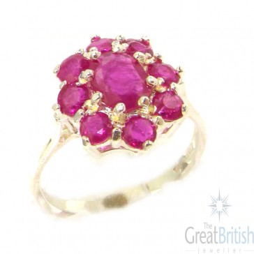 Sterling Silver Genuine Natural Ruby Cluster Ring