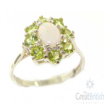 Sterling Silver Natural Opal & Peridot Cluster Ring