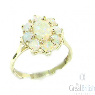 Sterling Silver Ladies Colorful Fiery AAA Grade Opal Cluster Ring