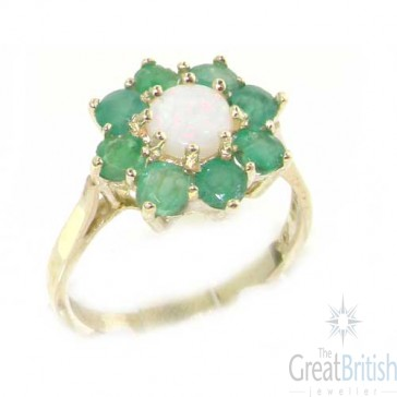 9ct White Gold Fiery Opal & Emerald Cluster Ring