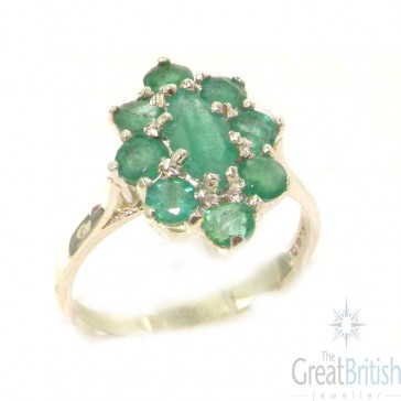 Sterling Silver Natural Emerald Cluster Ring