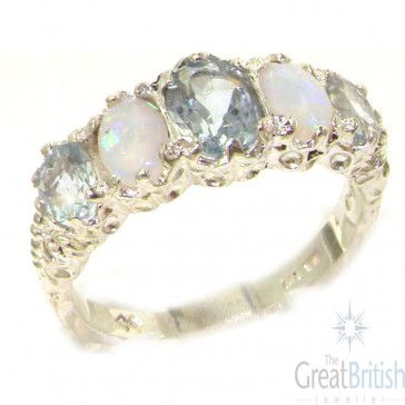 Sterling Silver Aquamarine & Opal Ring
