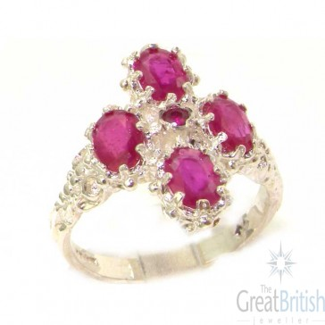 Sterling Silver Natural Ruby Ring