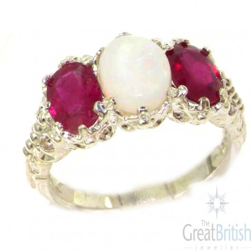 Sterling Silver Natural Large Opal & Ruby Ladies Ring