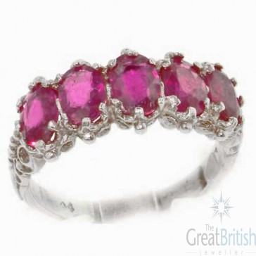 Sterling Silver Vibrant Ruby 5 Stone Ring