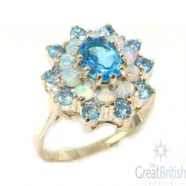 Sterling Silver Natural Blue Topaz & Fiery Opal 3 Tier Large Cluster Ring