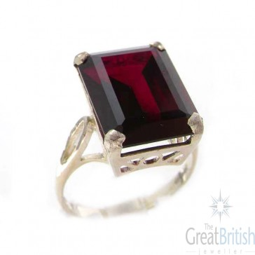 Sterling Silver Large 16x12mm Octagon cut Synthetic Ruby Ring