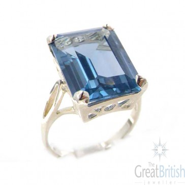 Sterling Silver Large 16x12mm Octagon cut Synthetic Aquamarine Ring