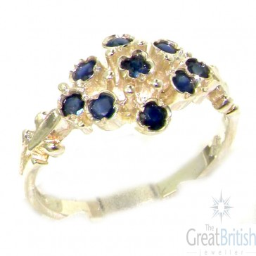 Sterling Silver Silver Natural Sapphire Ring