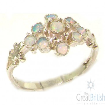 Unusual Sterling Silver Natural Fiery Opal Ring
