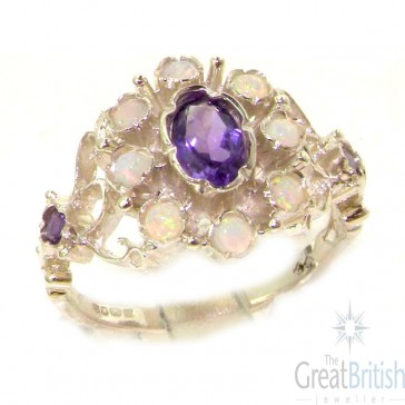 Sterling Silver Silver Natural Opal & Amethyst Ring