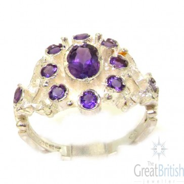 Unusual Sterling Silver Natural Amethyst Ring