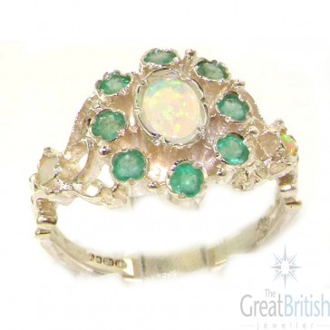 Sterling Silver Silver Natural Opal & Emerald Ring