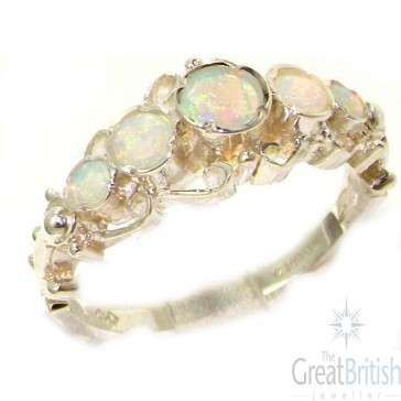 Sterling Silver Natural Fiery Opal Ring of English Georgian Design - Size L