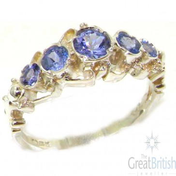 Sterling Silver Natural Tanzanite Ring of English Georgian Design