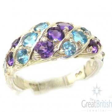 Sterling Silver Natural Amethyst & Blue Topaz Band Ring
