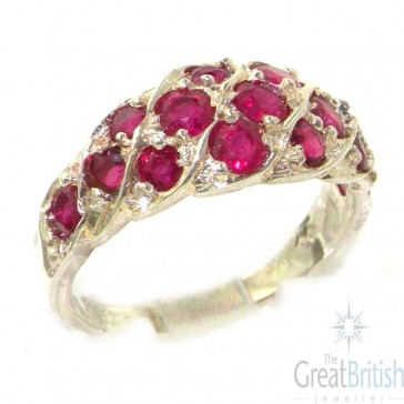 Sterling Silver Natural Vibrant Ruby Band Ring