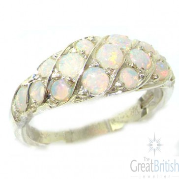 Sterling Silver Natural Fiery Opal Band Ring