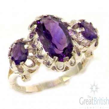 Sterling Silver Natural Vibrant Amethyst Victorian Inspired Ring